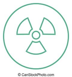 Ionizing radiation sign line icon - Ionizing radiation sign...