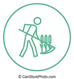 Man mowing grass with scythe line icon. - Man mowing grass...