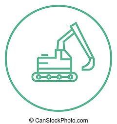 Excavator line icon. - Excavator thick line icon with...