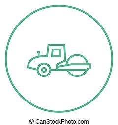 Road roller line icon. - Road roller thick line icon with...