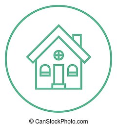 Detached house line icon. - Detached house thick line icon...