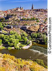 Churches Cathedral Medieval City Tagus River Toledo Spain...