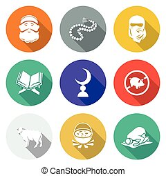 Set of Islamic Icons Set. Vector Illustration. - Isolated...