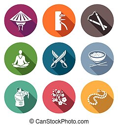 Martial Arts, Wing Chun Icons Set. Vector Illustration. -...