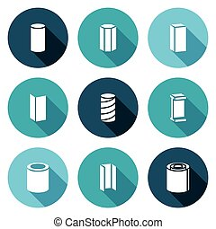 Metallurgical products Icons Set Vector Illustration -...