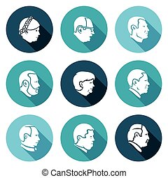 People head Icons Set. Vector Illustration. - Isolated Flat...
