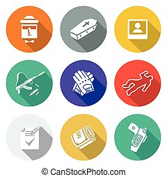 Contract killing profession Icons Set Vector Illustration -...