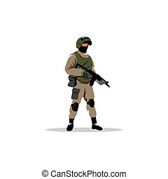 Commando man Police officer in uniform and face mask Vector...
