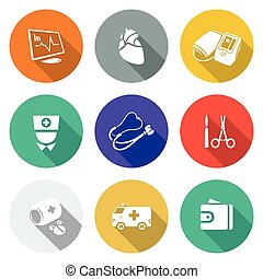 Heart disease, hospital Icons Set Vector Illustration -...