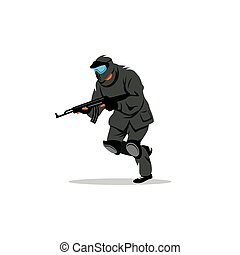 Paintball player. Vector Illustration. - The player with the...