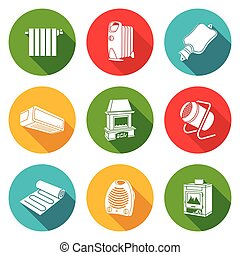 Climate, equipment Icons Set. Vector Illustration. -...