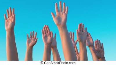 People Hands Up in the Air - Group of white people is...