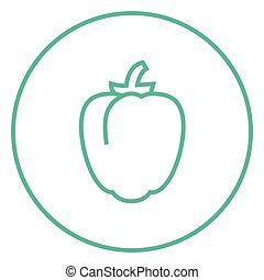 Bell pepper line icon - Bell pepper thick line icon with...