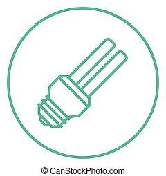 Energy saving light bulb line icon - Energy saving light...