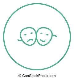 Two theatrical masks line icon. - Two theatrical masks thick...