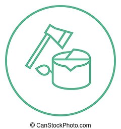 Deforestation line icon - Deforestation thick line icon with...