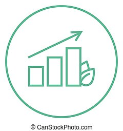 Bar graph with leaf line icon. - Bar graph with leaf thick...