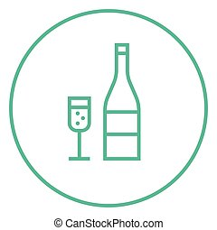 Bottle of champaign and glass line icon - Bottle of...