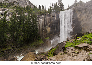 Vernal Fall at Yosemite National Park - View of majestic...