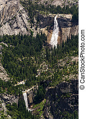 Aerial of Nevada Falls and Vernal Fall - Aerial view of...