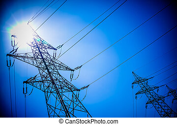power pole - the utility pole of a high voltage line symbol...