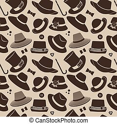 pattern with vintage hats