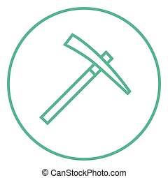 Pickax line icon. - Pickax thick line icon with pointed...