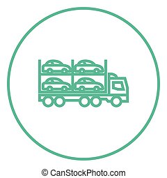 Car carrier line icon - Car carrier thick line icon with...