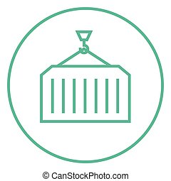 Cargo container line icon. - Container lifted by a crane...