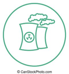 Nuclear power plant line icon - Nuclear power plant thick...