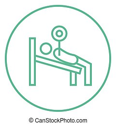 Man lying on bench and lifting barbell line icon.