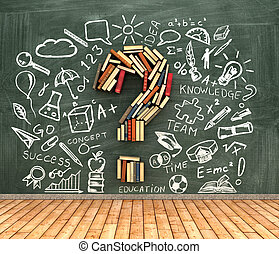 classroom blackboard and books iin shape question marks l...