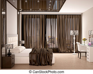 3d illustration of Luxury elegant bedroom in brown color
