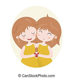 Zodiac signs Gemini Vector illustration of the girl - Cute...