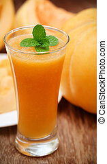 Juice of cucumis melo or muskmelon with mint leaves