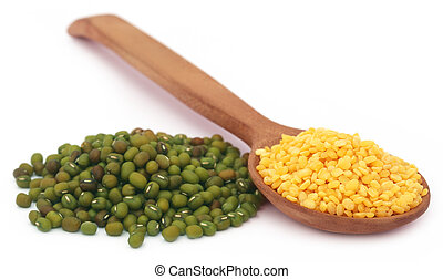 Mung bean in wooden spoon over white background