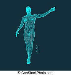 Man Pointing his Finger 3D Model of Man Geometric Design...