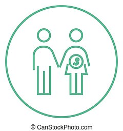 Husband with pregnant wife line icon - Husband with pregnant...