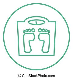 Weighing scale line icon. - Weighing scale thick line icon...