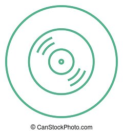Disc line icon - Disc thick line icon with pointed corners...