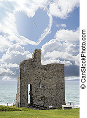 love heart shaped cloud above castle - love heart shaped...