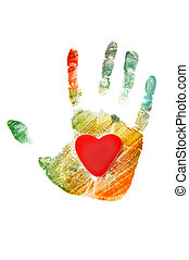 handprint - colorful handprint with a heart isolated on a...