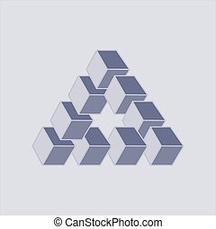 Optical illusion, abstract geometric design element.