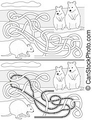 Quokka maze for kids with a solution in black and white