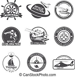 Set of vintage space, nautical, aeronautics flight emblems,...