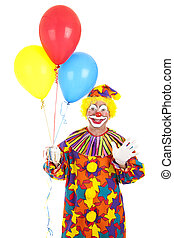 Clown Waving with Balloons - Clown holding a bunch of...