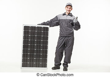 Solar panel Isolated on white background builder - Solar...