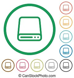 Hard disk drive outlined flat icons - Set of Hard disk drive...