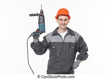 smile worker with drill white background
