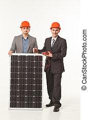 white background solar battery builder men
